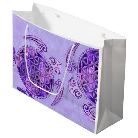 Flower Of Life / Blume des Lebens - turtle purple Large Gift Bag