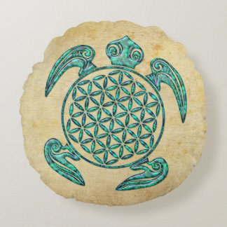 Flower of Life / Blume des Lebens turtle turquoise Round Pillow