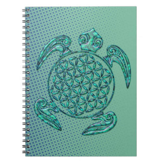 Flower of Life / Blume des Lebens turtle turquoise Spiral Notebook