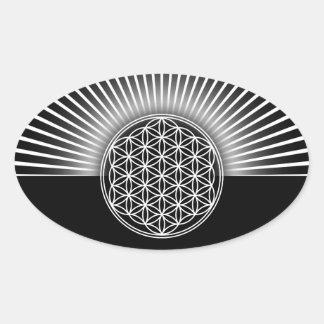 Flower of Life / Blume des Lebens - white flat Oval Sticker