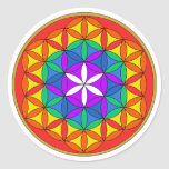 Flower of Life Chakra4.png Classic Round Sticker