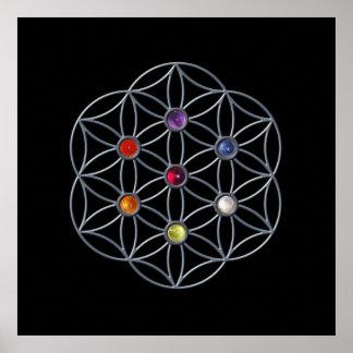 Flower of Life Chakra Gemstone Poster