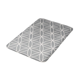 Flower of Life Cream on Grey Big Pattern Bath Mat