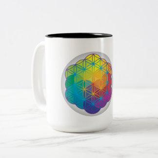 Flower of Life Energy Mandala Sacred Geometry Two-Tone Coffee Mug