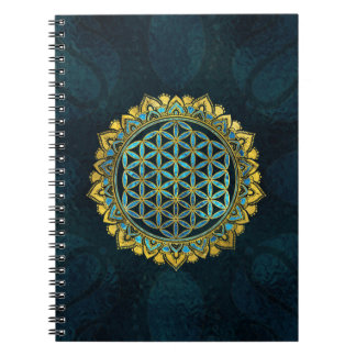 Flower of life gold an blue texture  glass notebook