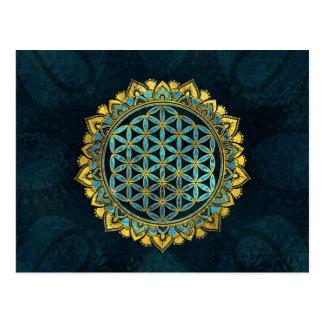 Flower of life gold an blue texture  glass postcard
