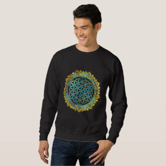 Flower of life gold an blue texture  glass sweatshirt