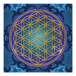 Flower Of Life - gold - fractal 1 Poster