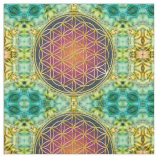 Flower Of Life - gold - fractal 2 Fabric