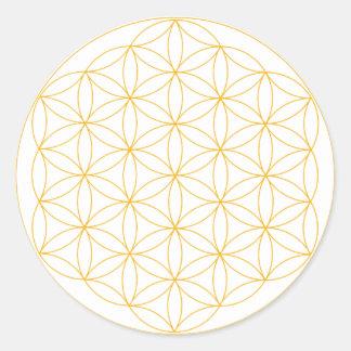 Flower of Life Gold Line Round Sticker