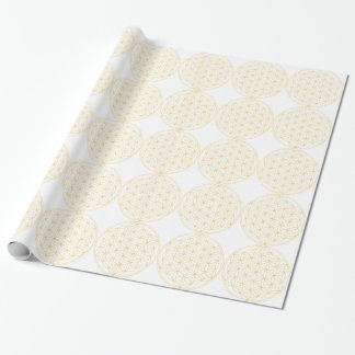 Flower of Life Gold Line Wrapping Paper
