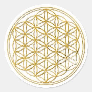 FLOWER OF LIFE - gold Round Sticker