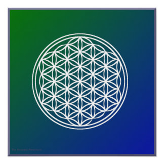 Flower of Life Green Blue Background Glossy Poster