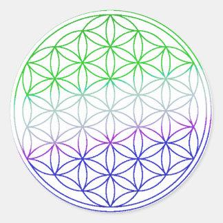 Flower of Life - Green & Purple Gradient Round Sticker