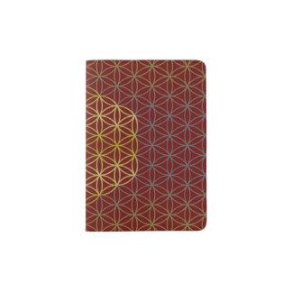 Flower of Life - grid pattern gold silver Passport Holder