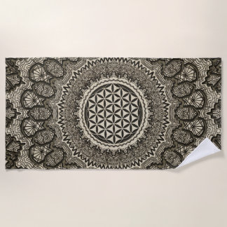 Flower of life in  mandala on canvas beach towel