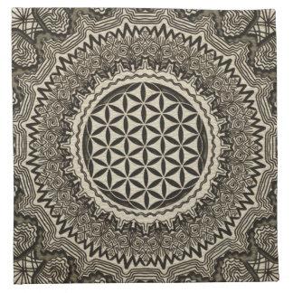 Flower of life in  mandala on canvas napkin