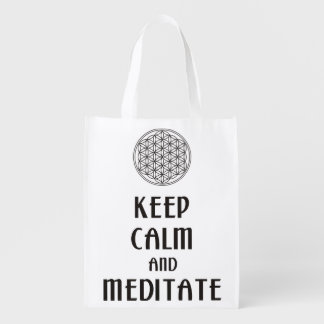 Flower of Life - KEEP CALM and MEDITATE Grocery Bag