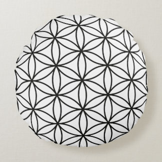 Flower of Life Large Pattern – Black on White Round Pillow