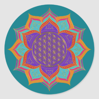 Flower of Life - LOTUS ornaments gold I Round Sticker