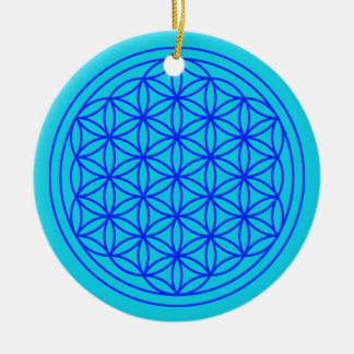 Flower of Life  Mandala Blue Ornament