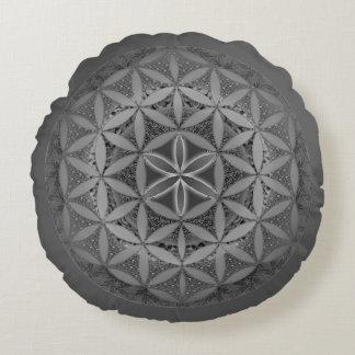Flower of Life Mandala Gray Round Pillow