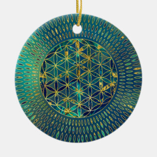 Flower of life Marble and gold Ceramic Ornament