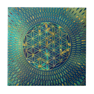 Flower of life Marble and gold Tile