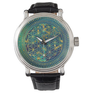 Flower of life Marble and gold Watch