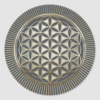 Flower of life metallic embossed classic round sticker