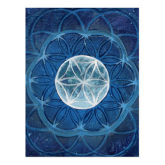 Flower of Life Moon Mandala Postcard