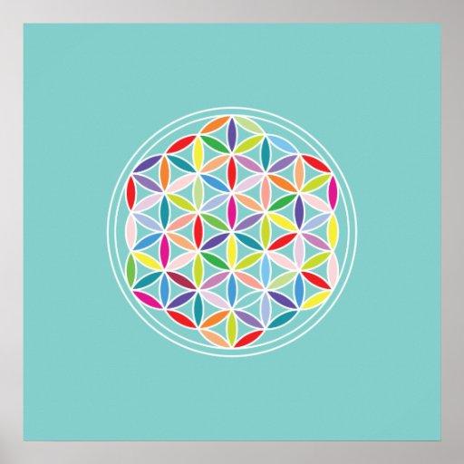 Flower of Life – Multicoloured on Blue Print