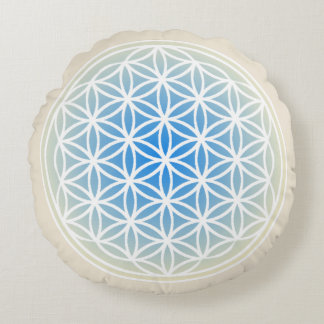 Flower of Life Opal Round Throw Pillow