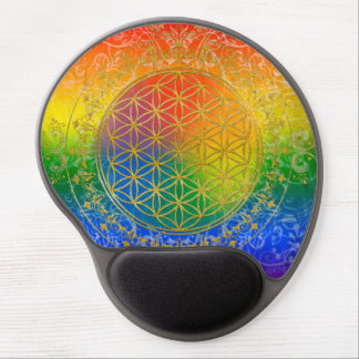Flower of Life - Ornament Rainbow gold Gel Mouse Pad