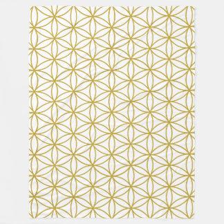 Flower of Life Pattern Gold Fleece Blanket