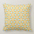 Flower of Life Pattern Orange White & Blue Throw Pillow