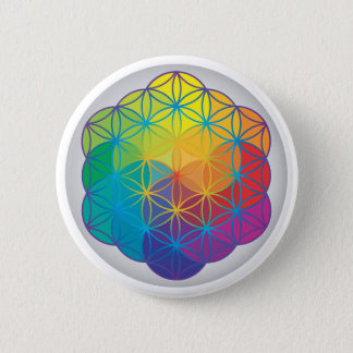 Flower of Life Rainbow Colors Harmony Energy 2 Inch Round Button