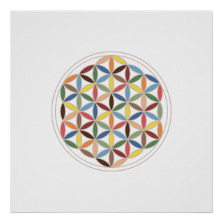 Flower of Life Retro Colors Posters