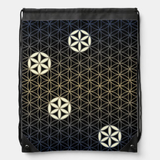 Flower Of Life - seamless pattern - blue beige Drawstring Bag