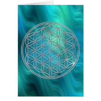 Flower Of Life   silver, bluegreen waves Card