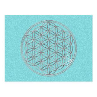 Flower Of Life | silver, cyan splatter Postcard