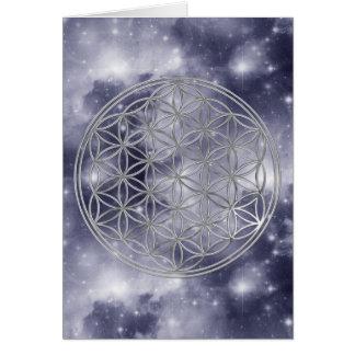 Flower Of Life   silver, dark blue universe Card