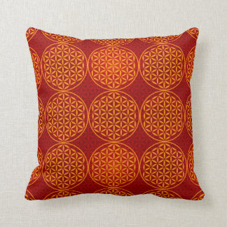 Flower of Life - stamp pattern - orange red Throw Pillow