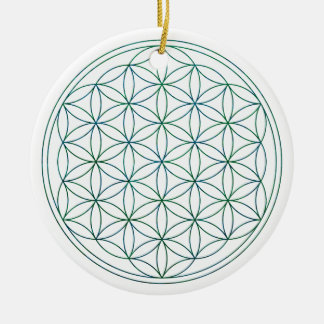 Flower Of Life (V-Earth) Round Ceramic Ornament