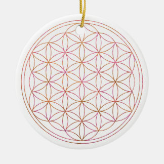 Flower Of Life (V-Sunset) Round Ceramic Ornament