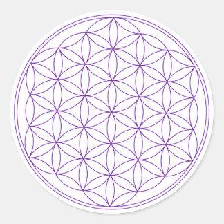 Flower of Life Violet Classic Round Sticker