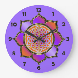 FLOWER OF LIFE - violet lotus + clock face numbers
