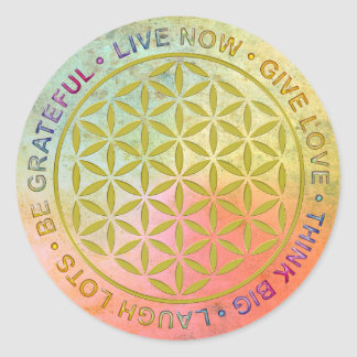 Flower Of Life with Rules Of Life Classic Round Sticker