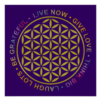 Flower Of Life with Rules Of Life Poster