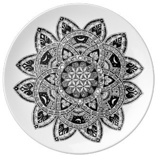 Flower of Life zendoodle Porcelain Plate